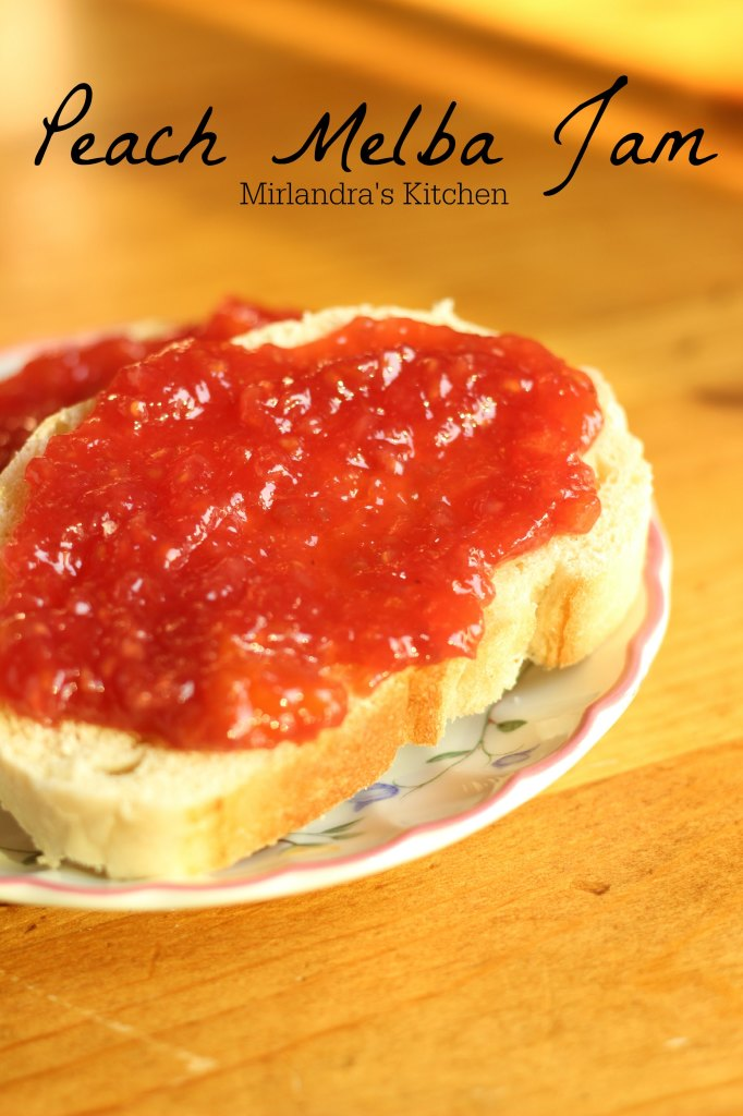 This classic Peach Melba Jam is a great mix of peaches and raspberries. It is one of my favorite jams. Instructions for canning the jam are included.
