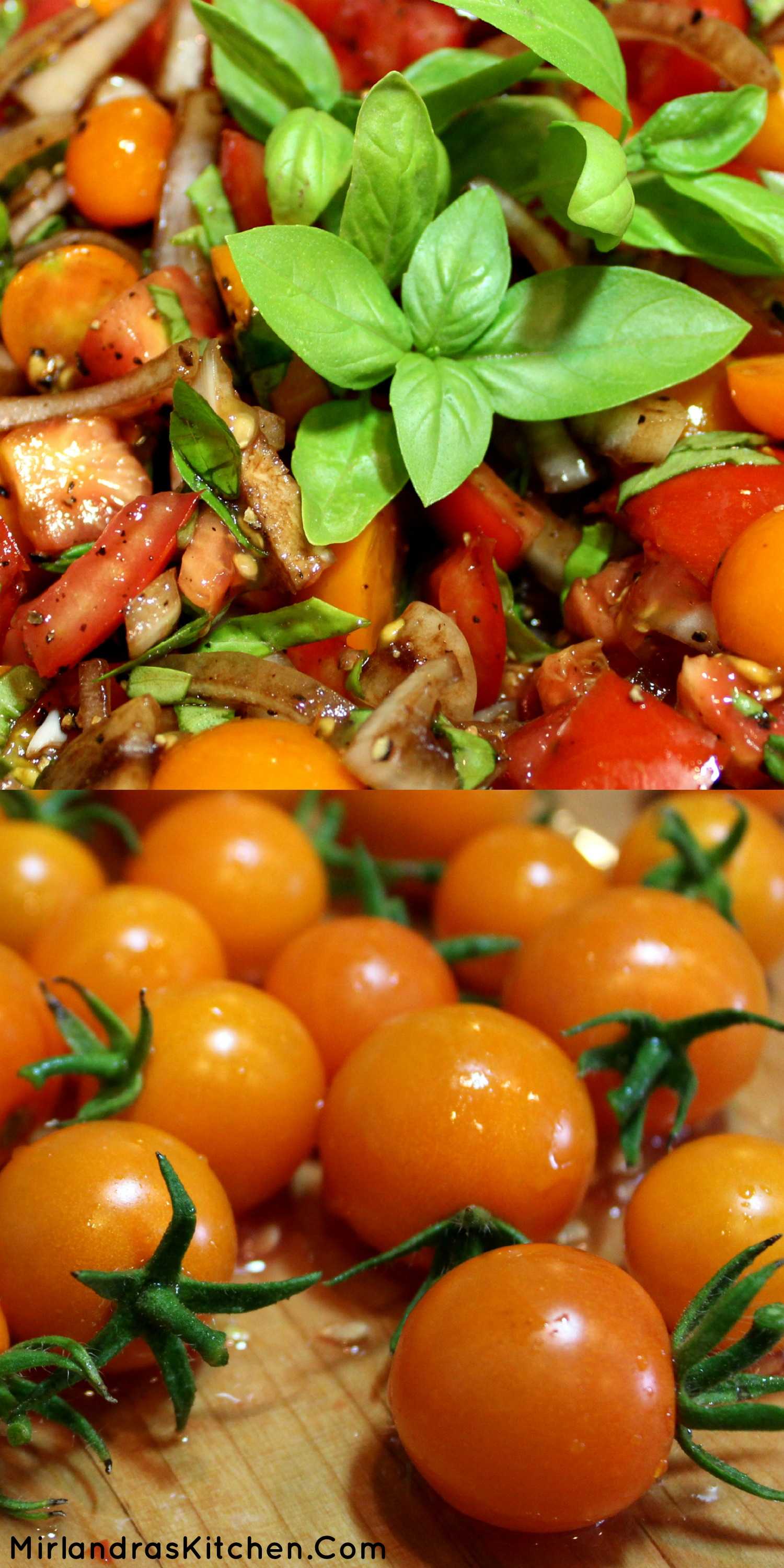 This tomato salad with basil, sweet onions, and reduced balsamic vinegar is easy, healthy, and beautiful. Everybody wants seconds all summer long.
