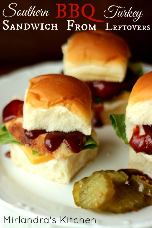 Leftover turkey and rolls or biscuits make a delicious southern BBQ turkey sandwich. We are breaking out of our standard turkey sandwich rut and doing something new at our house. These are so good I want to roast another turkey!