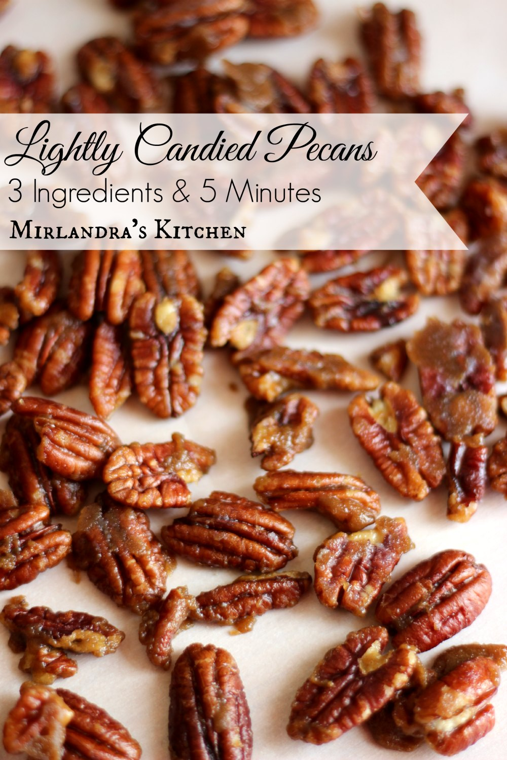 Candied Pecans with a kiss of dark brown sugar and butter, perfect with pumpkin pie or alone in a dish. Only three ingredients and 5 minutes. Easy as pie!