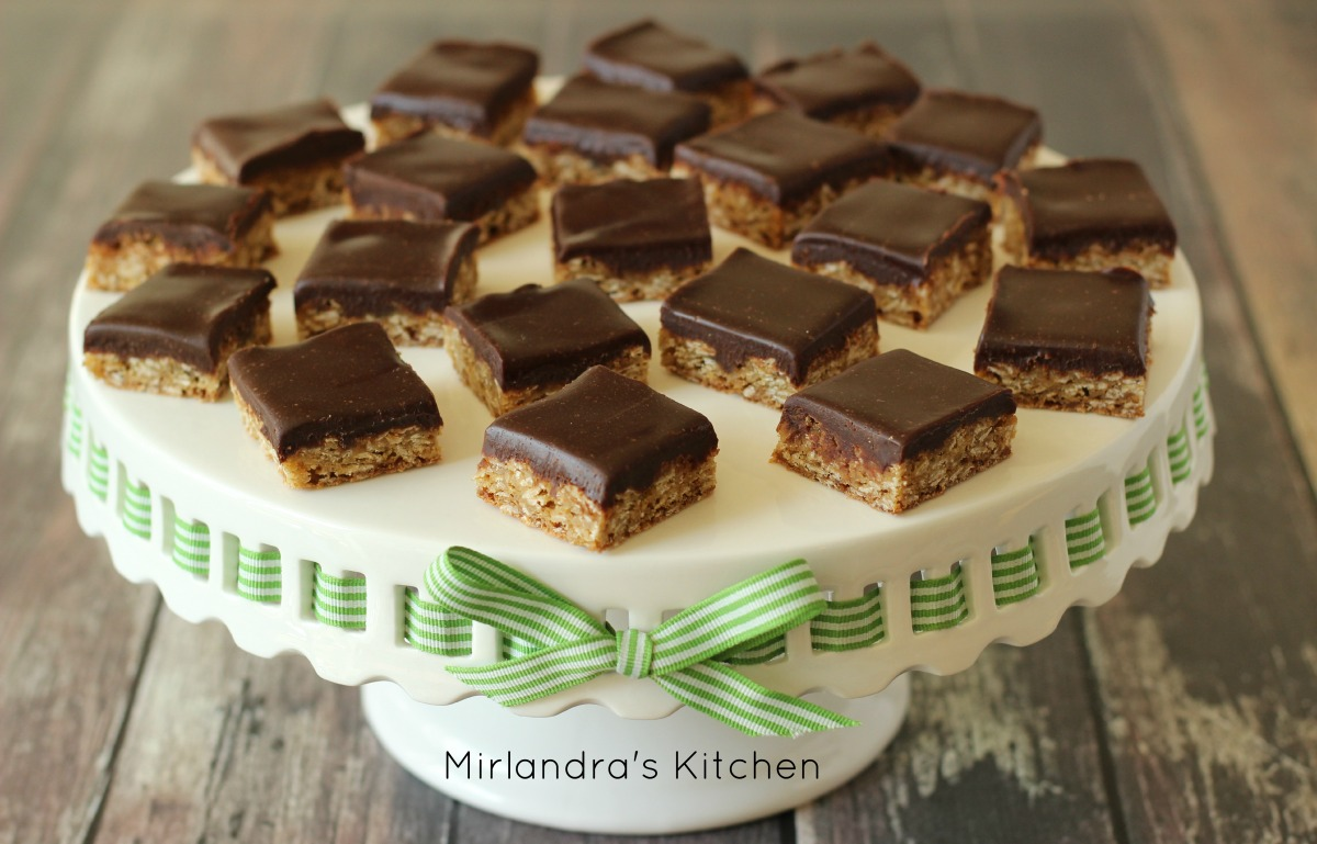 Small Oatmeal Cookie Bars with Chocolate Frosting