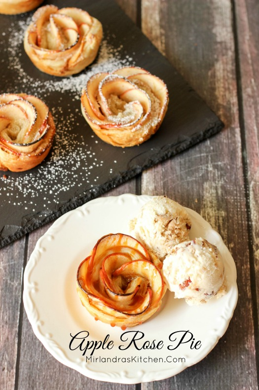 These Apple Rose Pie treats only look complicated!  It is easy to make this puff pastry apple treat with cream cheese.  Dress it up with salted caramel.