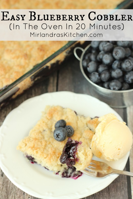 This Blueberry Cobbler takes 20 minutes to prep for the oven. A rich, sweet topping covers juicy blueberry filling for summer perfection!