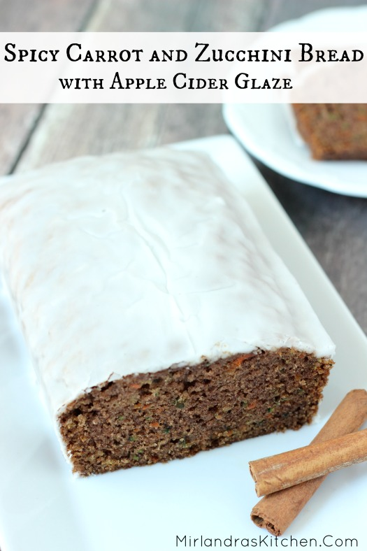 This Carrot and Zucchini Bread has three cups of veggies but is still spicy, sweet and tempting. A lovely apple cider glaze puts it over the top!