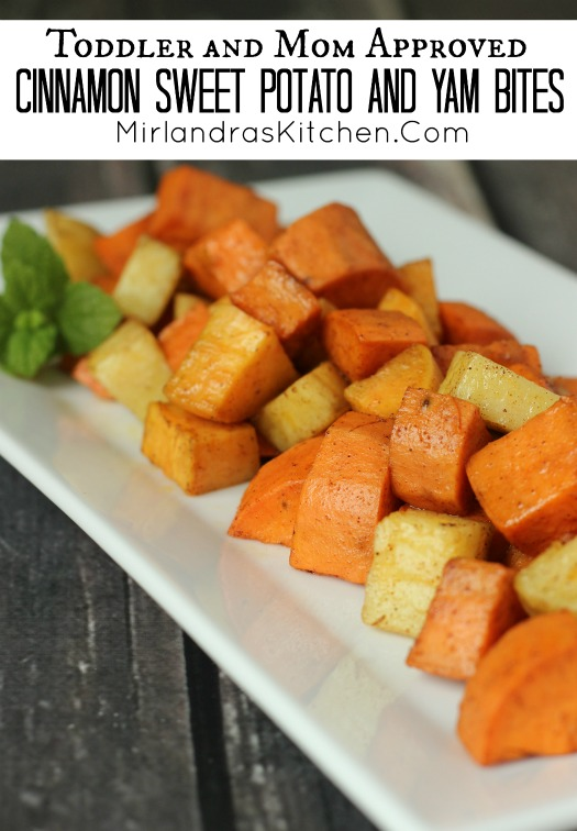 Hot or cold my toddler and all his friends love these healthy cinnamon sweet potato and yam bites. I cook a bit batch once and serve them all week long.
