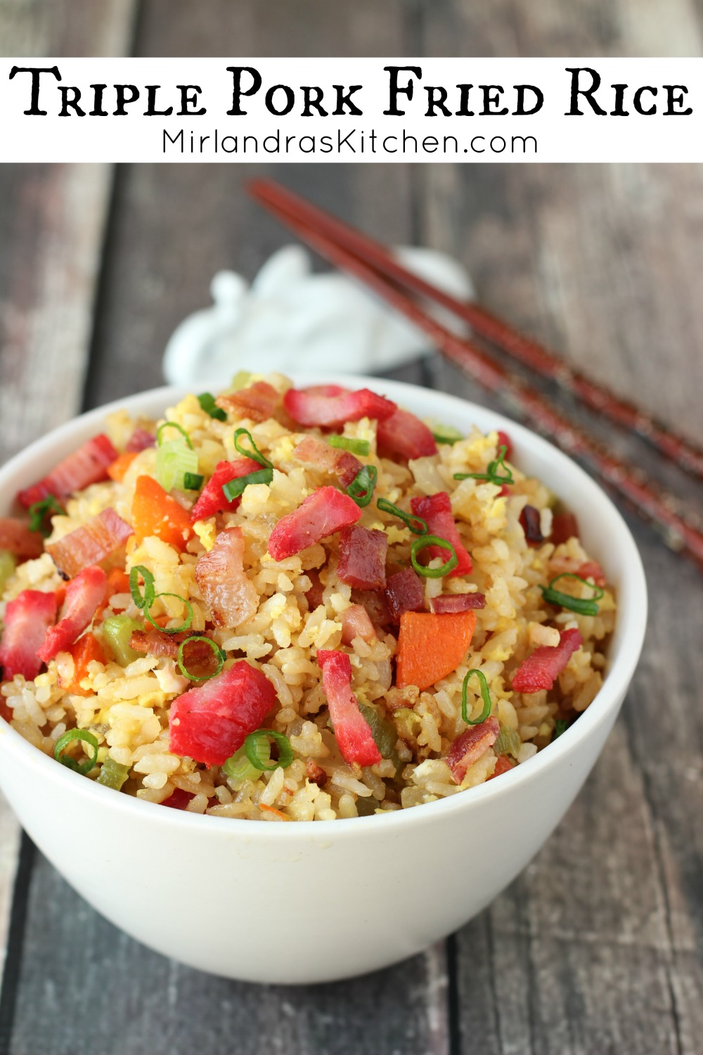 This Triple Pork Fried Rice is bursting with pork and flavor. It is quite simply one of the best fried rice recipes in existence. We always look forward to this meal and it is one of our go to options for a family dinner on a busy night.