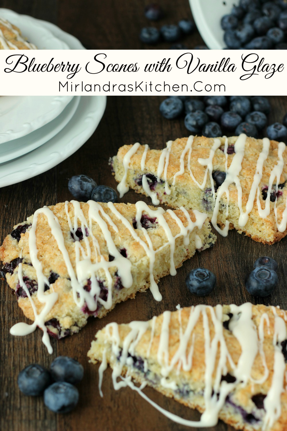 Tender blueberry scones with a crunchy top and creamy vanilla glaze. You won't be able to resist this warm, buttery treat full of berries. They are a perfect mid-winter pick-me-up or a glorious summer treat.