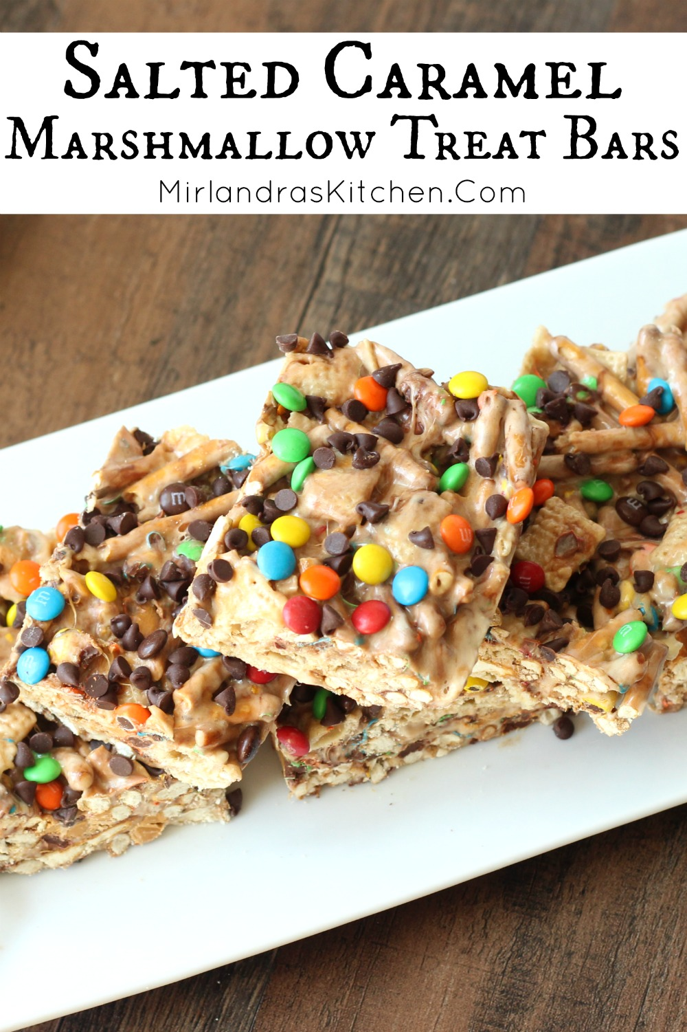 We are in love with these gooey Salted Caramel Marshmallow Treat Bars. Chocolate, pretzels, Chex, butterscotch chips,- how could you not these easy treats?