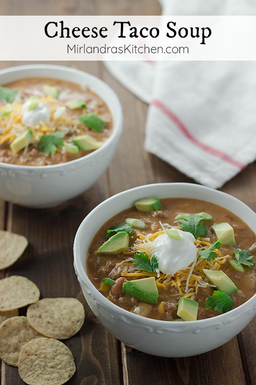 Cheese taco soup is all the best stuff about tacos in a satisfying soup! This easy 20 minute soup has ground beef, beans, and CHEESE. Make it mild or spicy.