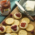 When I'm craving cheesecake I bust out these simple Fruit and Cream Cheese Crackers instead. They are an easy healthy option when I'm in treat mode. They also work great as a toddler snack, party appetizer, after school snack or game day treat.